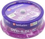 DVD+R Disc Verbatim   8.5Gb  8x    уп. 25 шт   Double Layer,  на  шпинделе    43757