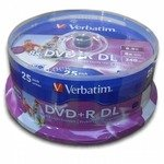 DVD+R Disc Verbatim   8.5Gb  8x    уп. 25 шт   Double Layer,  на  шпинделе,  printable   43667