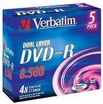 Диск DVD-R Verbatim 8.5Gb 4x Dual Layer Jewel Case 5шт