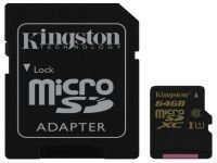 SDCA10/64GB 64GB Карта памяти MicroSDXC/Transflash Class10 UHS-I U1 Kingston