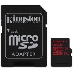 Карта памяти 32Gb microSDHC Kingston (SDCA3/32GB), Class 10, UHS-I, U3, R90-W80 Mb/s, RTL