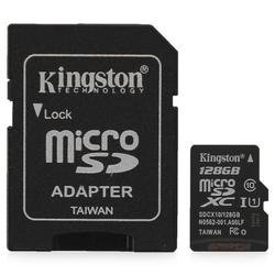 карта памяти TransFlash 128Gb MicroSDXC Class 10 UHS-I Kingston, SDCX10/128GB, адаптер